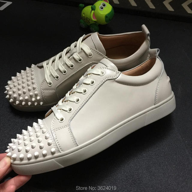 42d43774c1d5 Low-cut shoes clandgz creamy-white Lace-up Men Rivets Shoes Fashion Party  Red bottom shoes Sneakers leather casual shoes 2018