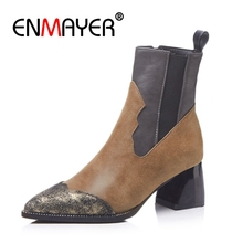 ENMAYER Ankle boots Women Short Casual Pointed toe Thick High heel Fashion Boots shoes Black Zipper Patchwork CR1213