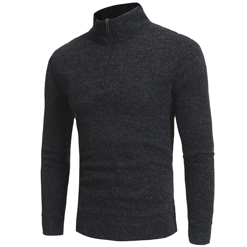 Mens New Simple High Zip Collar Design Casual Slim Knit Sweater Men's Pullover Sweaters