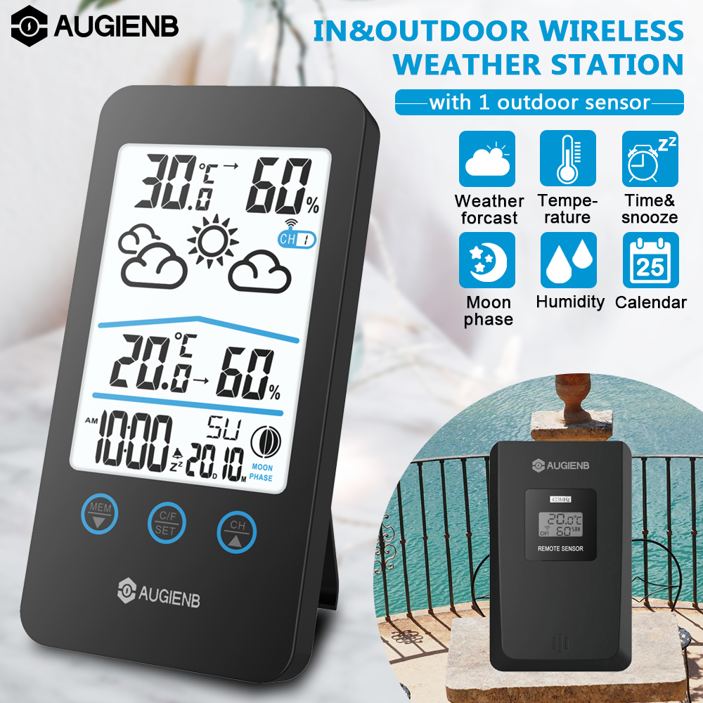 Digital Weather Station Displays Hygrometer Thermometer Sensor Moon Phase Forecast Thermo-hygrometer Station Alarm Clock