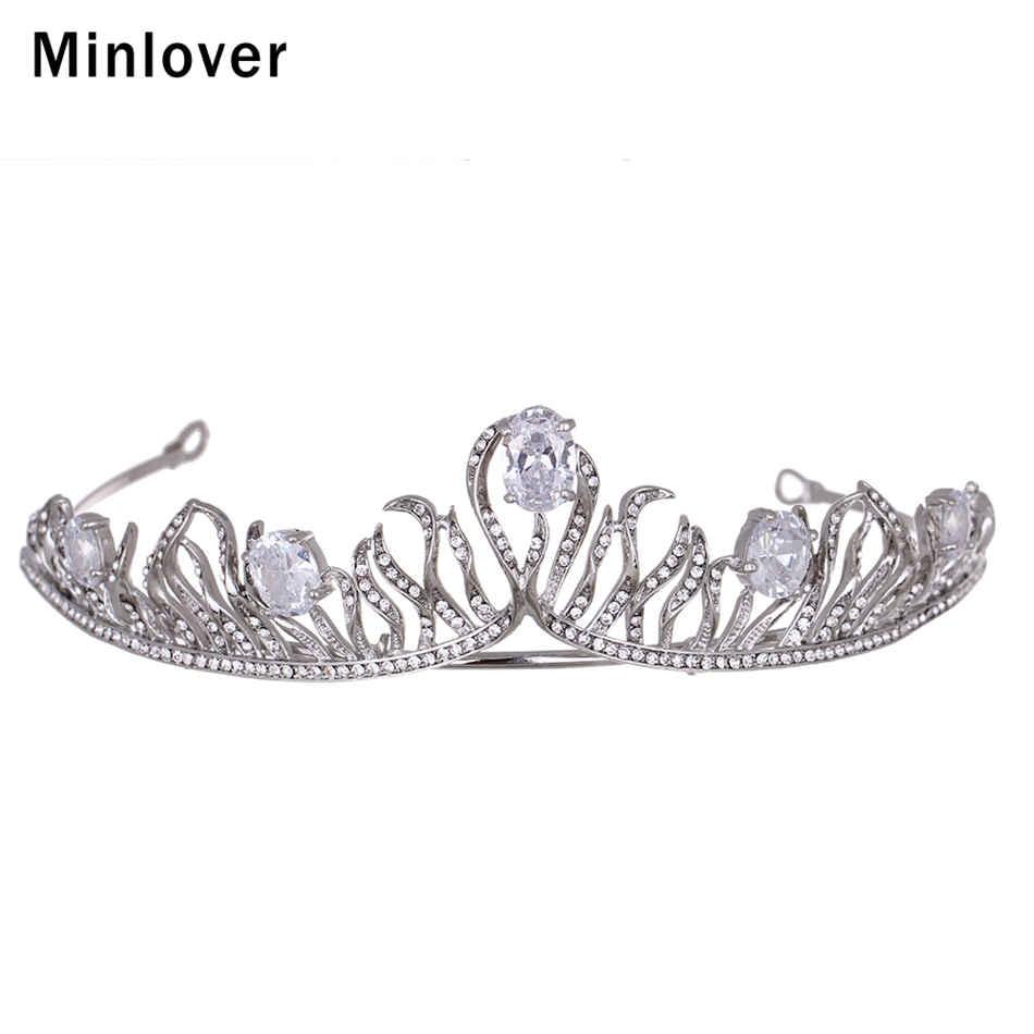 Minlover De Mariage Cheveux Accessoires Zircon Diadèmes pour les Femmes  Unique Design Crystal Crown Cheveux Bijoux MHG079 174405759b9
