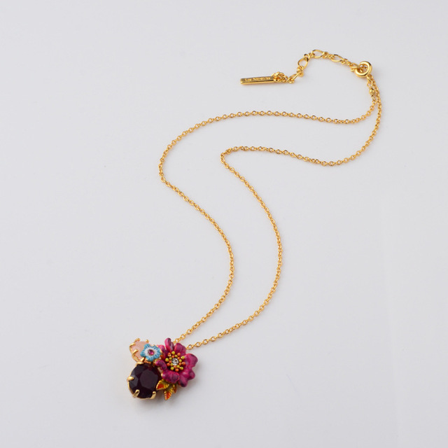Francês Les Nereides vermelho grande flor azul pequeno bonito flor jóia colar de pingente para mulheres simples e elegante partido jóias