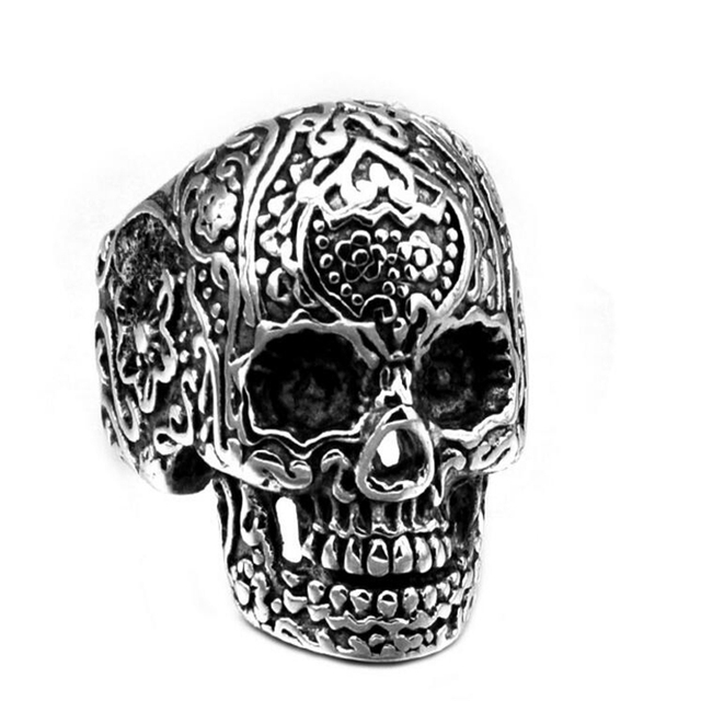 Cool Tattoo Music Skull Ring For Man Stainless Steel Unique Design Skeleton Jewelry Man Cool Gift Drop Ship Sale Rings