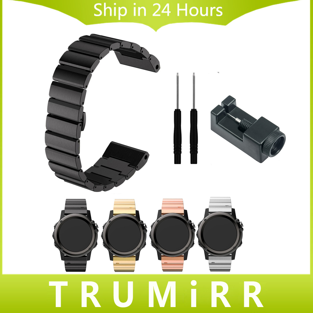 26mm Stainless Steel Watch Band + Link Remover + Screwdrivers for Garmin Fenix 3 HR Strap Butterfly Buckle Strap Wrist Bracelet new arrivals titanium steel bracelet wrist strap smart watch band for garmin fenix 3 hr sturdy and durable free shipping aug29