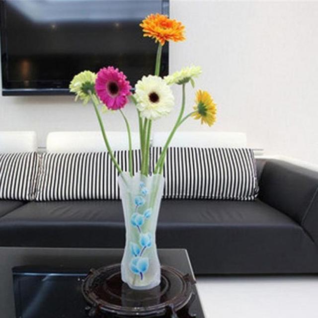 3Pcs Portable Eco-friendly Flower Cute Foldable Vase Wedding Office Home Decoration Random PVC Plastic Flower Vase 4