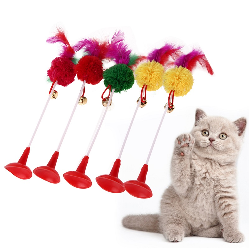 5pcs Funny Pet Cat Toys Feather Bottom Sucker Cat Kitten Playing Toys Scratch Toy with Small Bell Pet Tranning Feather Toys