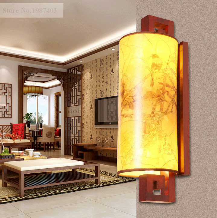 Modern chineses red carved wood art wall lamps antique style yellow PVC shade E27 LED lamp for bedroom&porch&stairs LMJBD002