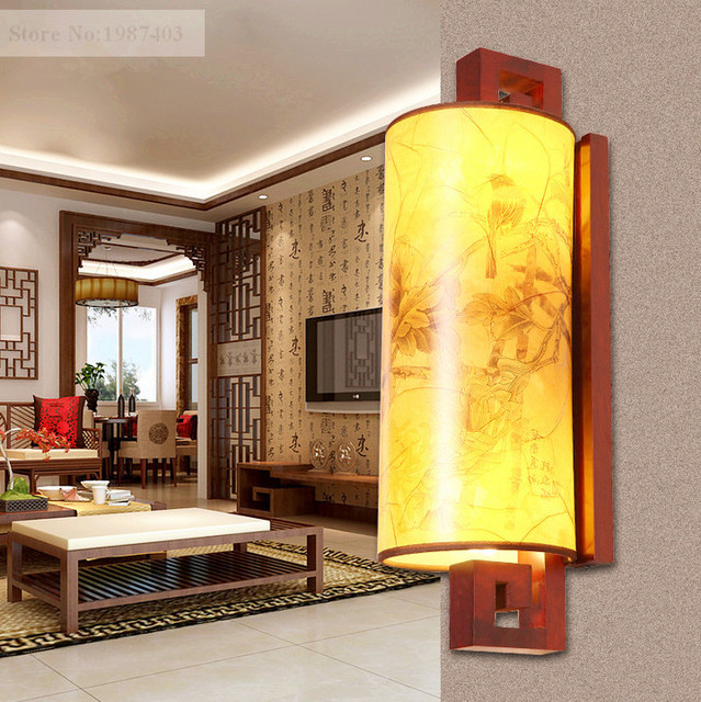 Modern chineses red carved wood art wall lamps antique style yellow ...