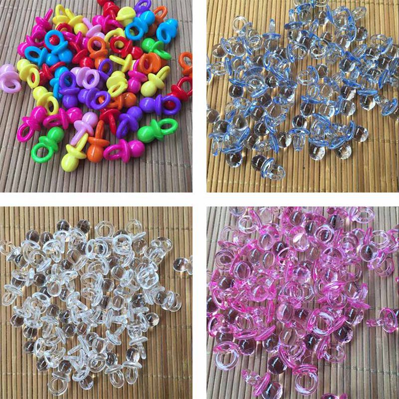 50pcs Cute Mini Colorful Acrylic Pacifier Baby Shower Favors Party Game Supplies
