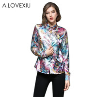 A LOVEXIU Multicolor Floral Print Tops Blouses Casual 2017 Print Women Blouses Shirts For Women Blouse