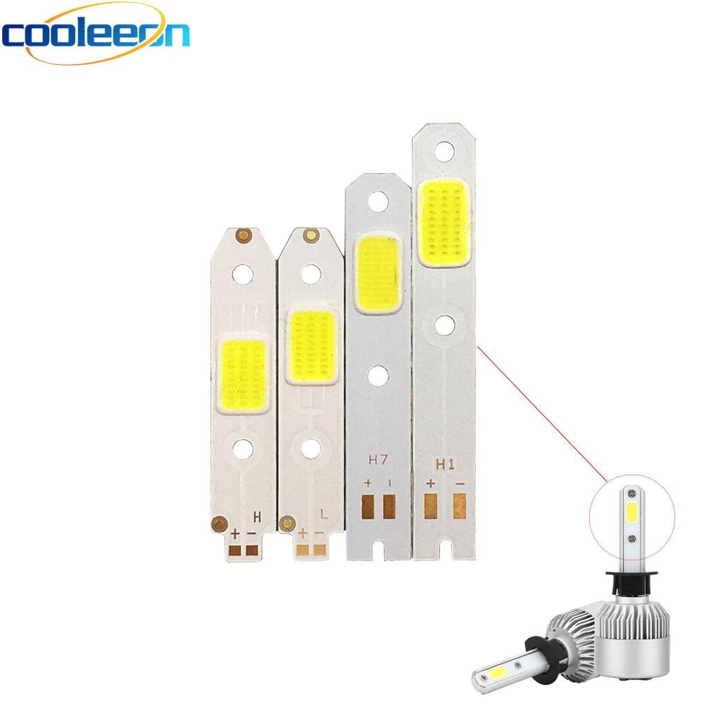 4pcs/lot S2 Car Headlight COB Chip LED Light Source for DIY Auto Headlamp H1 H3 H7 H4 High Low Beam Bulb 6500K White Lamp
