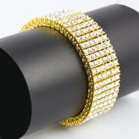 Bling Iced Out Rhinestone Men Bracelet Silver/Gold/Black Metal Bracelets & Bangles Male Gift Hip Hop Party Rock Jewelry