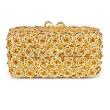 European Style Rhinestone Crystal Wedding Clutch for Women Handbags Flower Crystal Evening Clutches for Bridesmaids 88408