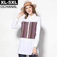 Fashion Folk Custom Striped Patchwork Big Size Women Shirt 2016 Spring Plus Size Cotton White Long