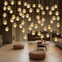 Łańcuch kryształowy żyrandol światła G4 LED Kryształ droplight AC110V 220 V lampy Restauracja schody Szklane Kulki bar światło kawiarni