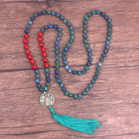 Women Tassel Long Necklace Blue Green Lapis Lazuli Nepal OM Necklace 108 Mala Yoga Jewelry Natural