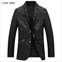 Mens Faux Leather Blazers Jackets 2019 Men's Pu Leather Blazer Business Casual Black Khaki Burgundy Dress Coats for Men 4XL
