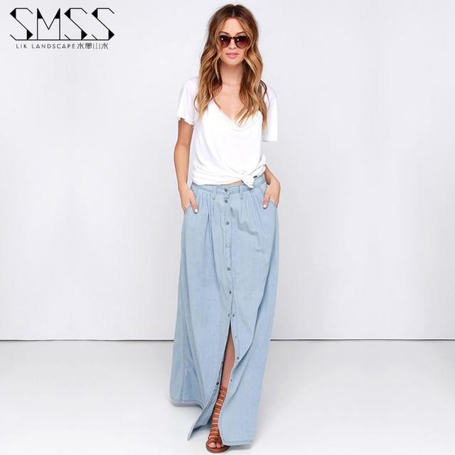 Summer 2016 Women Long Denim Skirt Femme Casual Loose High Waisted Single Breasted Maxi Jean Skirt Saias Feminina 3XL