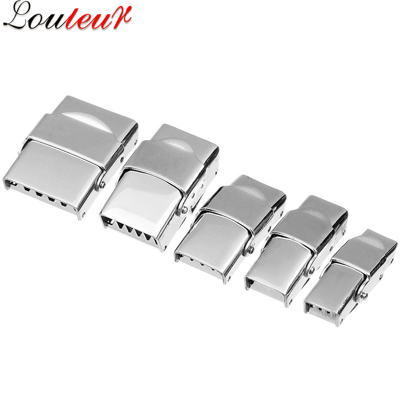 LOULEUR 5pcs/lot 6Sizes Stainless Steel Flat Leather Cord Clasps for Bracelet Metal End Clasps Necklace Connector Jewelry Making basehome stainless steel magnetic clasps metal connector fit 8x3 10x3 15x3mm flat leather cord bracelets findings diy jewelry