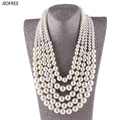 JIOFREE big Pearl Necklace New Fashion long Statement Imitate Pearl Beads For Wedding Party Decoration Women Fashion Jewelry