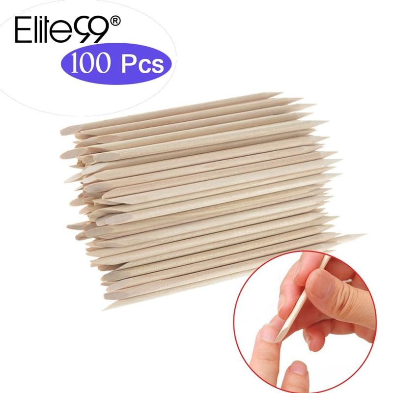 Elite99 100pcs Cuticle Pushers Nail Pusher Wooden Stick Nail Art Nail Tools Drill Stick For Dead Skin Pushers Gel Nail Polish