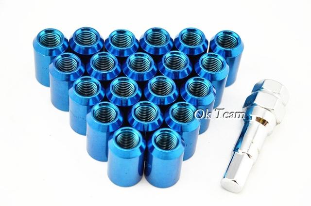 Envío gratis 20 Unids 12x1.5mm Auto Car Racing Wheel Tuercas Tuerca Kit Sets de Aleación de Tornillo Azul