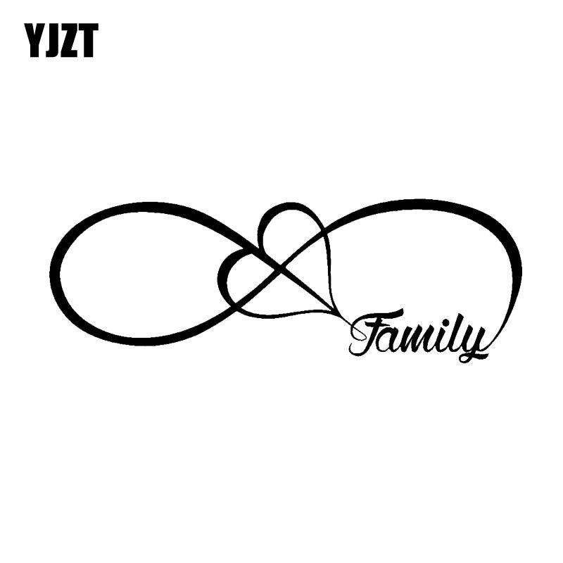 YJZT 15.2CM*5.3CM Family Love Heart Infinity Forerey Bumper Car WIndow Waterproof Car Decal C2-3024