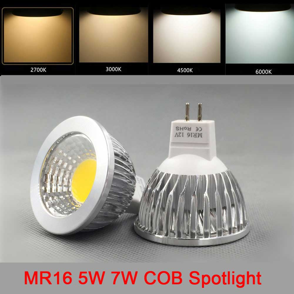 10X High Power 12V COB LED Lamp bulb Spotlight lampada led dimmable MR16 lamparas 5W 7W Warm White Cold White COB MR16 LED bulbs mr16 led spotlight bulb