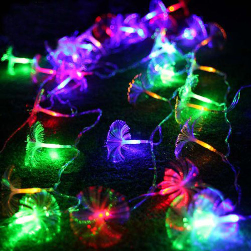 2.5M 10 Petunia Blomster Led String Garland Blinkende Lys Christmas Wedding Holiday Party Hjem Luminaria Decoration Lamp