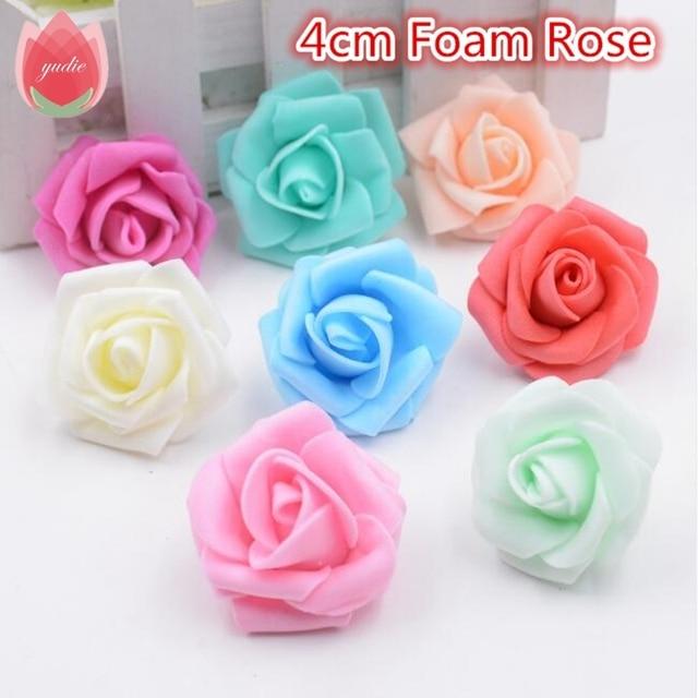 10 stks 4 cm Handgemaakte Schuim Rose Kunstbloemen Voor Wedding Auto Decoratie Mariage Flores Rosa Scrapbooking Pompom Craft Bloemen