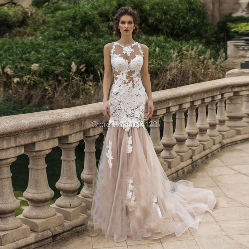 Sexy Mermaid Appliques Wedding Dresses 2019 Lace Light Champagne Tulle O Neck See Through Bride Gowns vestido noiva with Train
