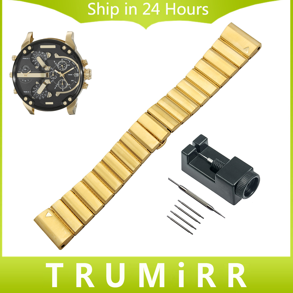 26mm Stainless Steel Watchband +Tool for Diesel DZMC0001 Watch Band Wrist Strap Butterfly Buckle Belt Bracelet Black Gold Silver 26mm stainless steel watchband tool for garmin fenix 3 hr 5x watch band butterfly buckle strap wrist bracelet silver black gold
