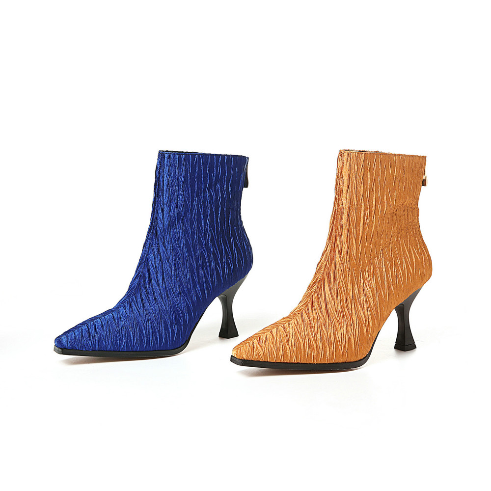 Aiweiyi Frau Heels Karree Schuhe High Hochhackige Brown blue Dünne Winter Herbst Zipper Zurück Stiefeletten Stiletto UarURZxwq
