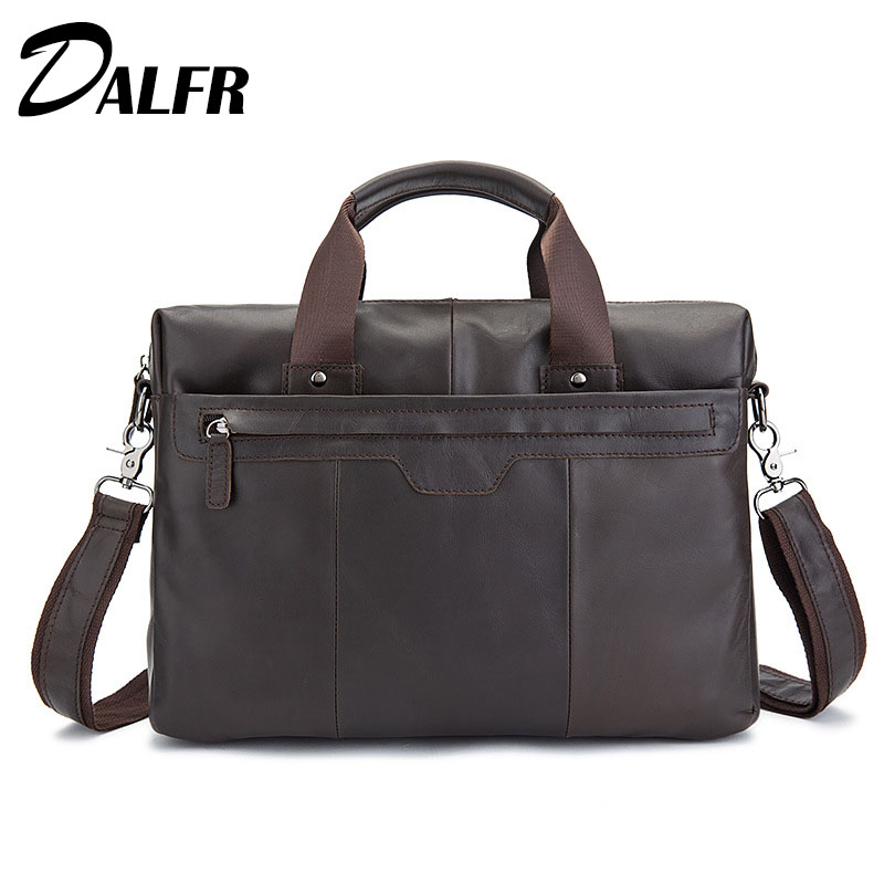 DALFR Genuine Leather Briefcase Cowhide Handbags Fashion Zipper Style Messenger Bags 18 Inch Crossbody Bags for Men