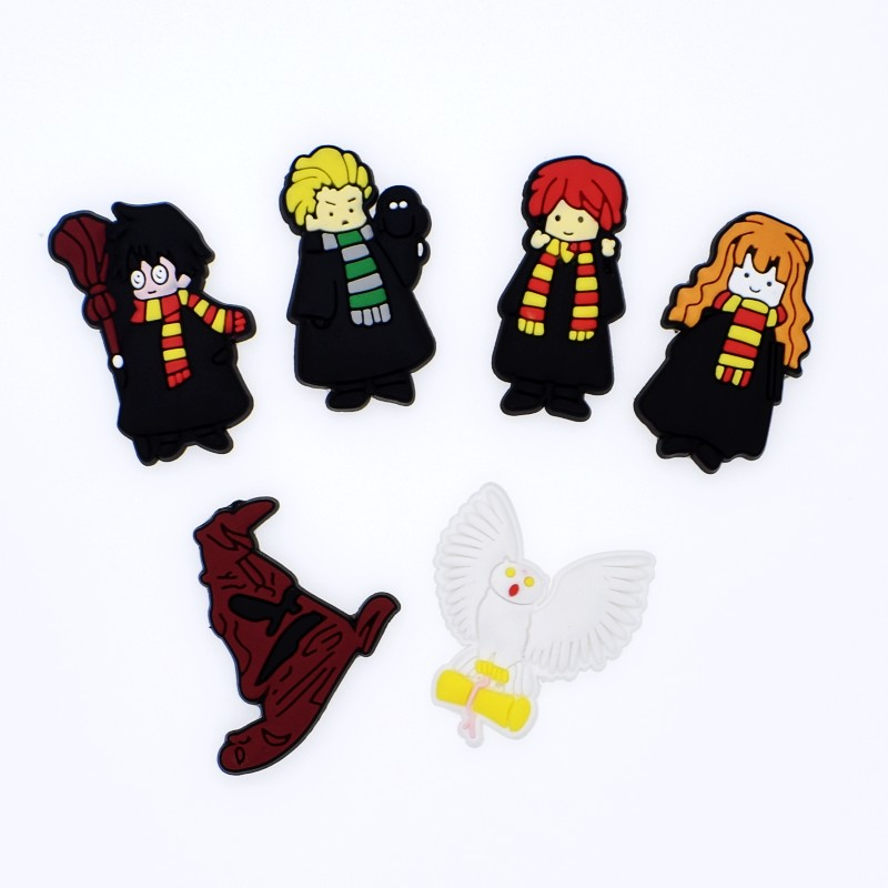 DIY Soft PVC Flatback Accessory Cartoon Harry Potter Charms For Fridge Magnets/Brooch Handmade Crafts Clothes Logo Mark