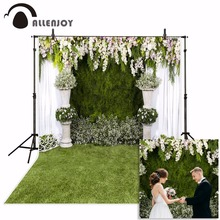 Allenjoy 웨딩 사진 배경 정원 꽃 봄 녹색 잔디 배경 사진 스튜디오 photocall photophone 파티 장식