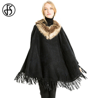 FS Ponchos Women Scarf And Capes Winter Femme Cachemire Hiver Warm Scarves Fur Collar Coat Pattern Shawl Echarpe Hiver Pashmina