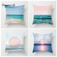 Fuwatacchi Ocean Beach Printed Cushion Cover Starfish Tropical Plant Pillow Sunrise Decorative Pillowcase for Home Sofa