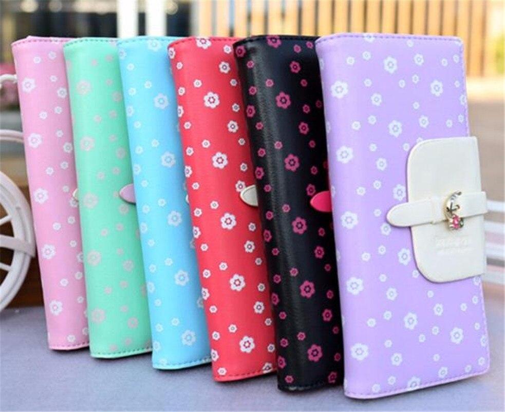 Most Popular Gifts For Women 2016 Part - 24: 2017 Most Popular Women Fashion Purse Wallet Long Card Holder Cute Gift  Plum Floral Handbag High Quality A7
