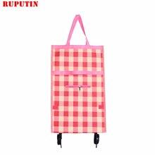 RUPUTIN Folding Portable Shopping Bags High Capacity Food Organizer Trolley Bag on Wheels Buy Vegetables Cart