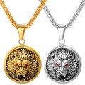 Animal Lion Head Collar Colgante Chapado En oro Forma Redonda De Acero Inoxidable Rey Espíritu Collar Para 2016 Nuevos Hombres Joyería P262