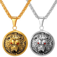 Gold Lion Necklace Pendant 18K Real Gold Plated Stainless Steel Round Shape King Spirit Necklace For