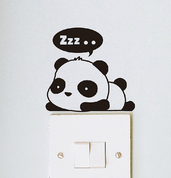 "small and loved panda says ""hello,hi,zzz"" wall decals home decor"