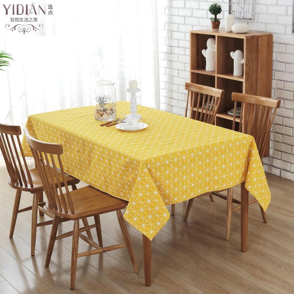 amarillo cuadrcula rectangular mesa de tela manteles mantel manteles moderno simple impermeable prr mesa tischdecke tafelkleed