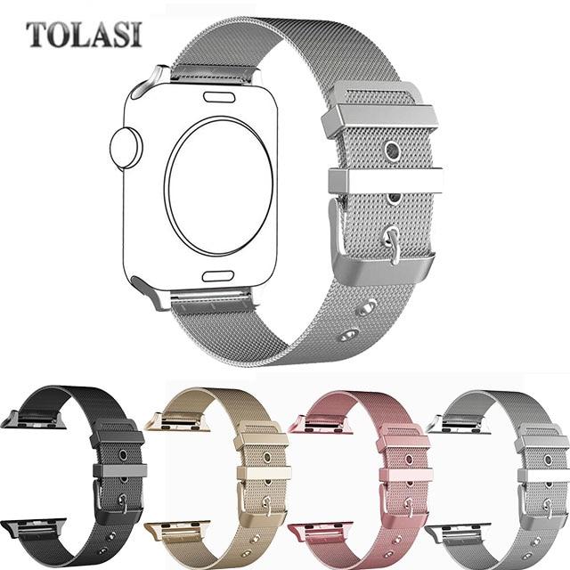 купить High quality Stainless Steel milanese loop Mesh Watch Strap for Apple Watch Bands for iWatch 38 42mm black silver pinkrose gold онлайн