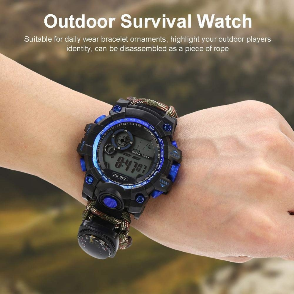 Outdoor Survival Watch Emergency Night Vision 50M Waterproof IP68 Survive Paracord Knife Compass Thermometer Whistles First Aid Kits  (2)