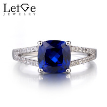 Leige Jewelry 925 Solid Sterling Silver Sapphire Ring Cushion Cut September Birthstone Gemstone Promise Wedding Rings for Women