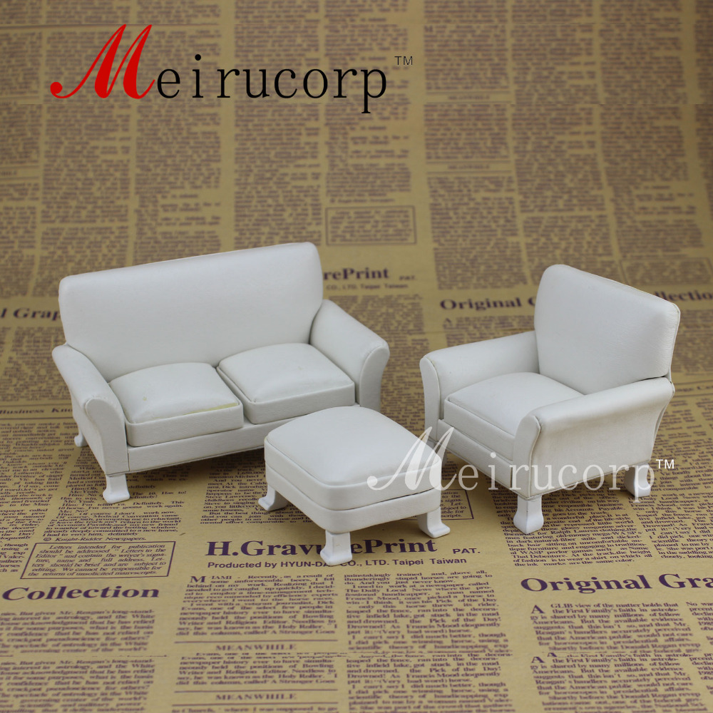 Fine 1 12 Escala Miniatura Muebles Blanco Sof De La Sala Set En  # Muebles Sala Set