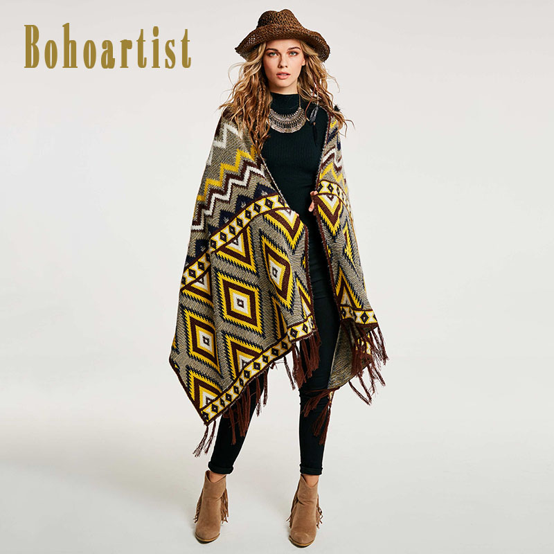Bohoartist Women Autumn Cape Boho winter autumn women scarf Color Block Geometric Pattern Warm Wraps Tassel warm scarf Shawls