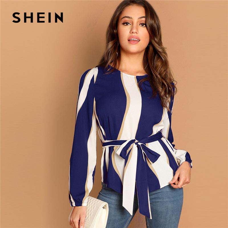 SHEIN Modern Lady Navy Self Belted Striped Scoop Neck Shirt Pullovers Top Women Streetwear Autumn Minimalist Elegant Blouse